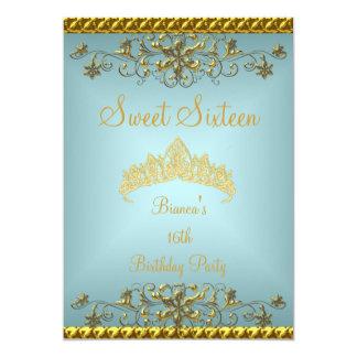 Cartão Tiara azul do diamante do ouro da 16a cerceta do
