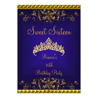 Cartão Tiara azul profunda do diamante do ouro do doce 16
