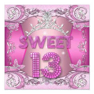 Cartão Tiara de prata cor-de-rosa da 13a festa de