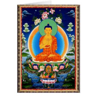 Cartão Tibetano Thangka Prabhutaratna Buddha