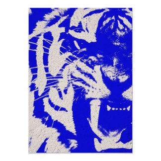 Cartão tigre azul do vintage do abstrato do animal