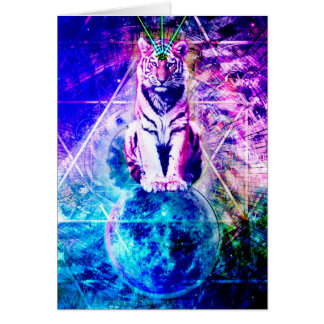 Cartão Tigre da galáxia - tigre cor-de-rosa - 3d tigre -