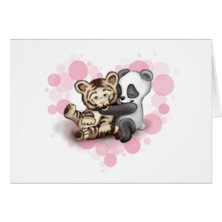 Cartão Tigre e panda