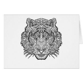 Cartão Tigre - ilustração preto e branco - coloração