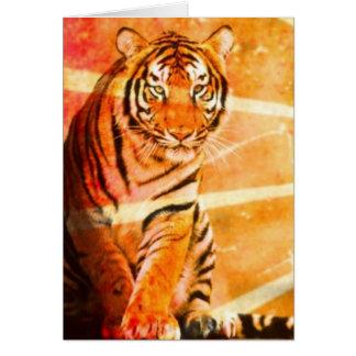 Cartão tigre japonês do raio do sol do vintage do animal