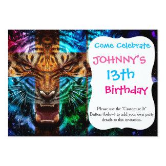 Cartão Tigre transversal - tigre irritado - cara do tigre