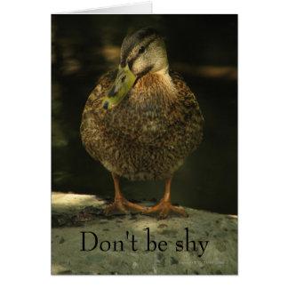 Cartão tímido do dia dos namorados do pato