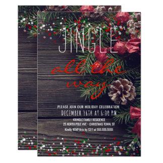 Cartão Tinir rústico da festa natalícia da grinalda toda