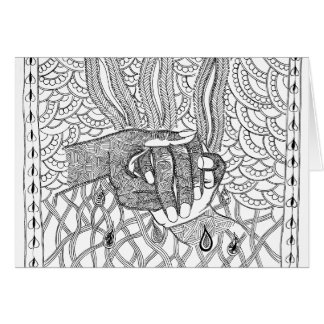 Cartão tinta e caneta que guardaram as mãos