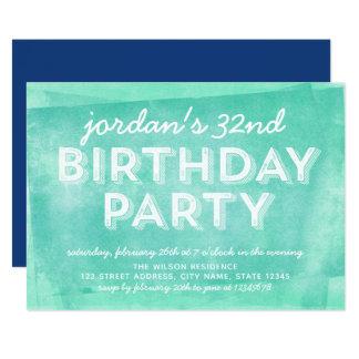 Cartão Tinta rolada turquesa do Aqua algum aniversário da