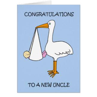 Cartão Tio novo Parabéns (menina).