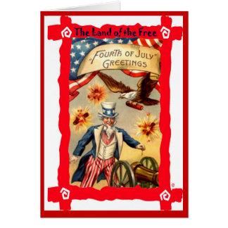 Cartão Tio Sam e foguetes