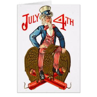 Cartão Tio Sam foguetes vintage patriótico do 4 de julho