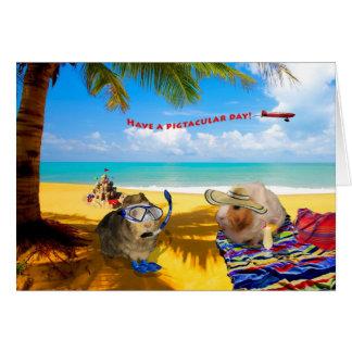 Cartão Tipo do porco do dia