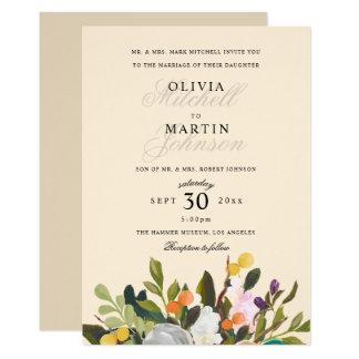 Cartão Tipo elegante com as flores florais pintadas que