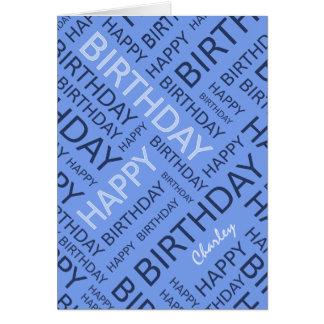 Cartão Tipografia azul conhecida personalizada do