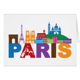 Cartão Tipografia colorida de Paris, France |
