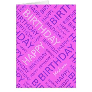 Cartão Tipografia conhecida personalizada do rosa do