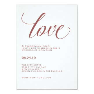 Cartão Tipografia do casamento do amor | Marsala