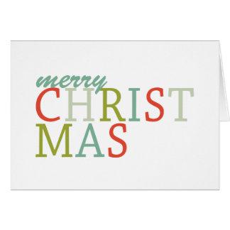 Cartão Tipografia do Feliz Natal, cores modernas