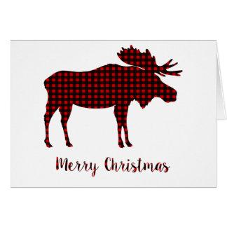 Cartão Tipografia do Feliz Natal da rena da xadrez do