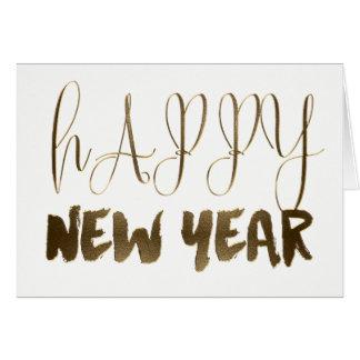 Cartão Tipografia dourada do ouro do texto do feliz ano