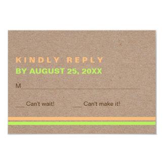 Cartão Tipografia moderna e listras RSVP wedding rústico