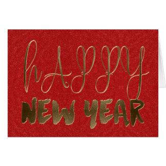 Cartão Tipografia vermelha elegante do ouro do feliz ano