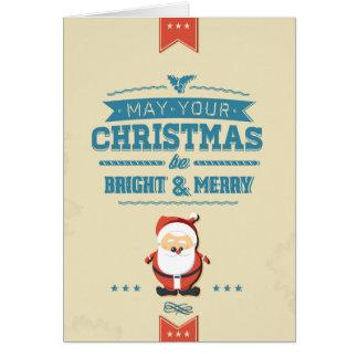 Cartão Tipográfico azul da fita bonito de Papai Noel