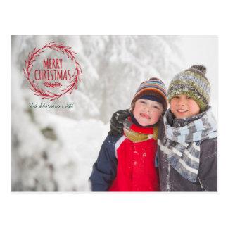 Cartão tirado mão da foto do feriado da grinalda