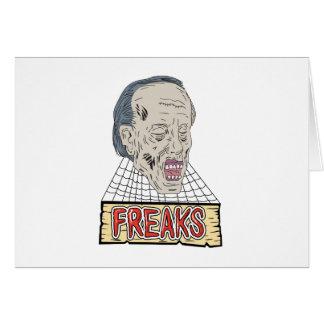 Cartão Tiragem dos Cobwebs dos anormais do zombi