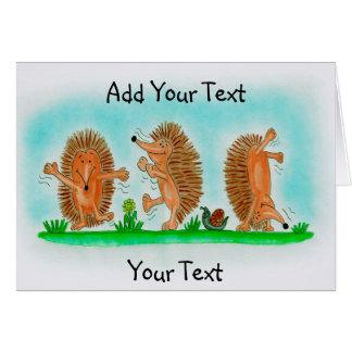 Cartão Tiragem feliz dos ouriços
