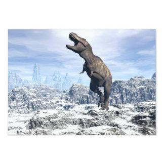 Cartão Tiranossauro na neve - 3D rendem