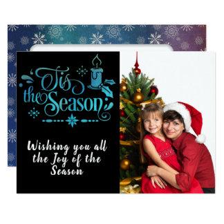 Cartão Tis a foto da estação/Natal Saying/2-Sided