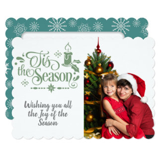 Cartão Tis dizer da estação/Natal/flocos de neve da foto