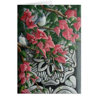 Cartão Titmice adornados em Bougainvilla
