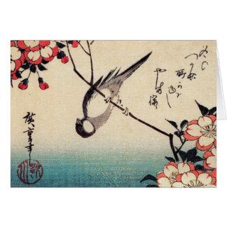 Cartão Titmice em um ramo da cereja, Hiroshige