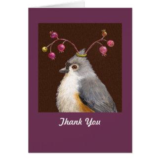 Cartão Titmouse e obrigado das bagas você notecard