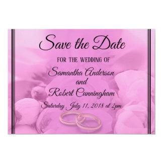 Cartão Toda o rosa floral com anéis salvar a data