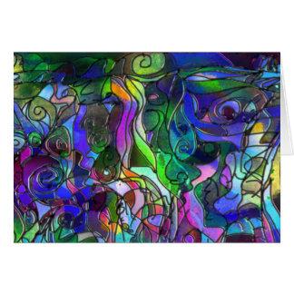 Cartão Todas as cores com redemoinhos e linhas