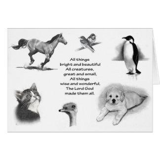 Cartão Todo o excelente das criaturas e pequeno: Animais: