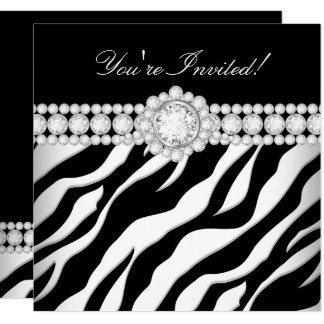 Cartão Todo o partido branco da zebra do preto da