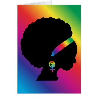 Cartão Todo-Ocasião feminista lésbica do afro-americano