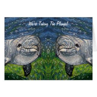 Cartão Tomando o mergulho: Golfinhos: Salvar a data,