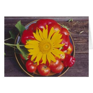 Cartão Tomates, pimenta vermelha, girassol - legumes