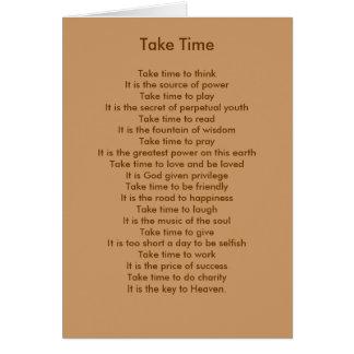 Cartão Tome o tempo pensar