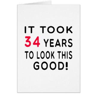Cartão Tomou 34 anos de design do aniversário
