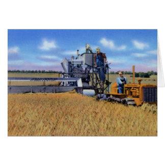 Cartão Topeka Kansas que colhe o trigo