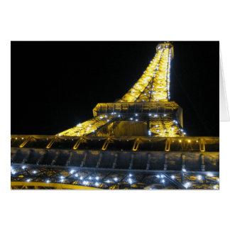 Cartão Torre de Eifel na noite