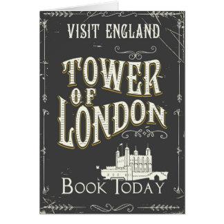 Cartão Torre do poster vintage de Londres Inglaterra